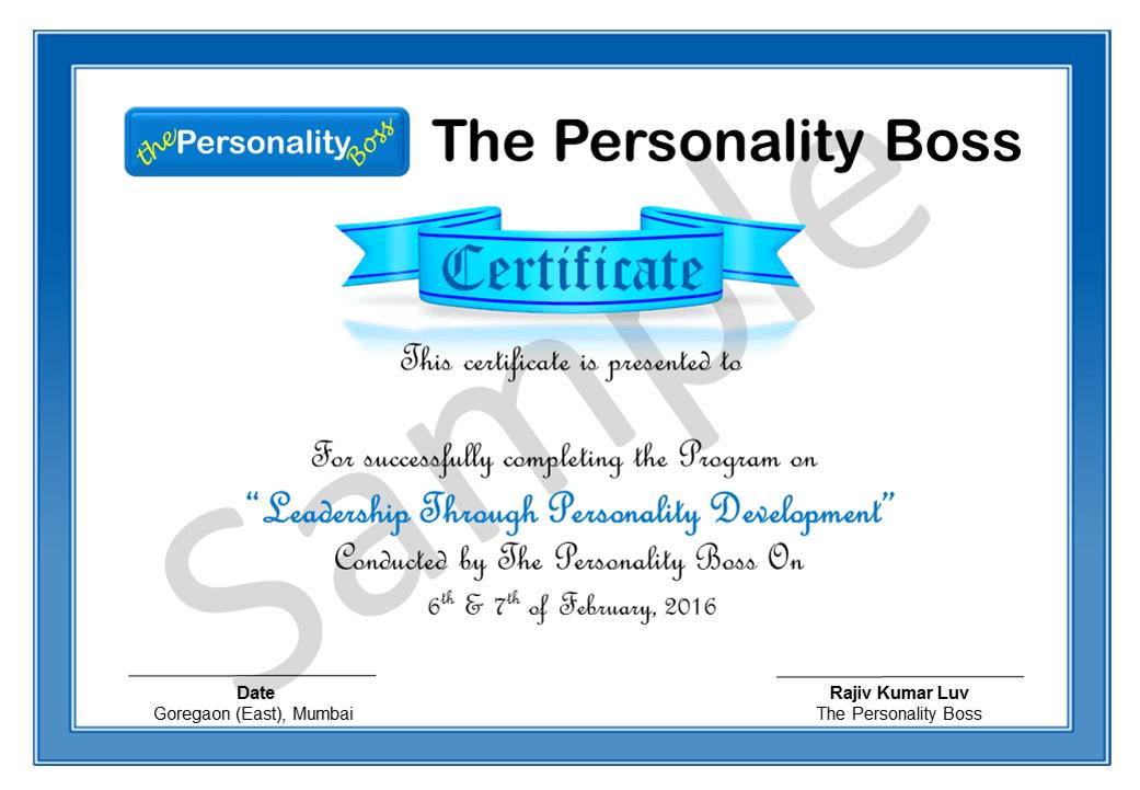 sample certificate personality development online training coaching